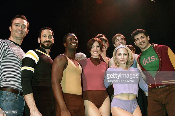 Cast members from A Chorus Line pose for photos Brad Anderson Michael Paternostro James T Lane Mara Davi Jessica Lee Goldyn and Tony Yazbeck Back row...