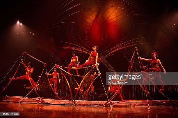 Cast members from Cirque du Soleil perform on stage during a preview of 'Amaluna' at Parc de Bagatelle on November 4, 2015 in Paris, France.