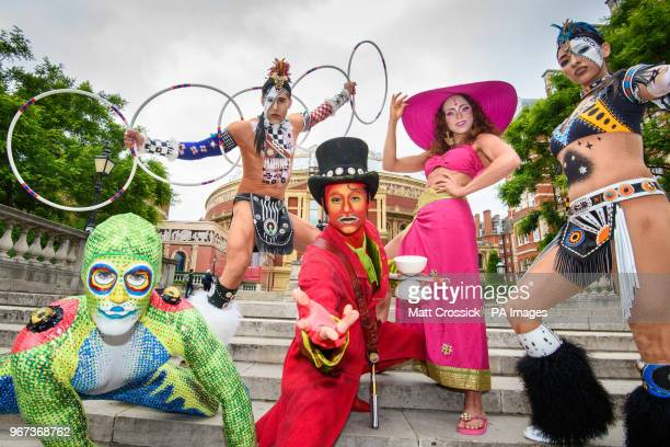 Cast members from Cirque du Soleil pose outside the Albert Hall in London to announce the return of the production TOTEM to the venue in 2018