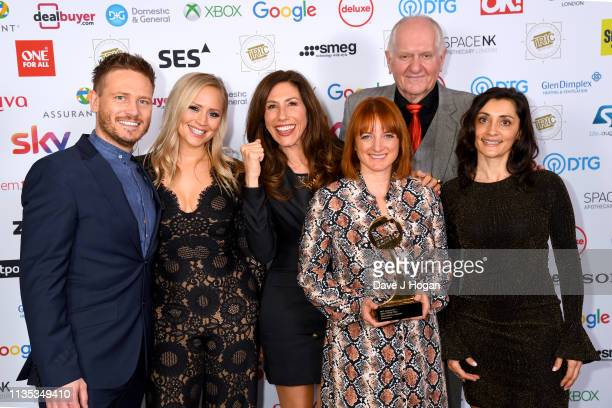 Cast members from Emmerdale pose with the award for Soap Of The Year during the 2019 'TRIC Awards' held at The Grosvenor House Hotel on March 12 2019...