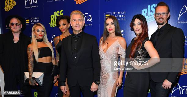 Cast members from 'INFERNO The Fire Spectacular' attend the Human Rights Campaign's 13th annual Las Vegas Gala at the Aria Resort Casino on May 12...
