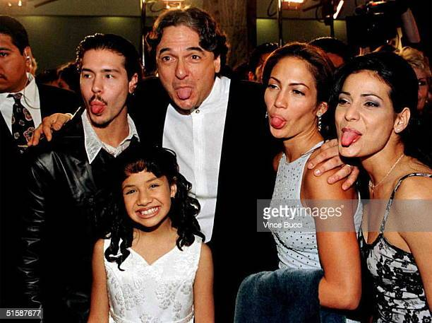 Cast members from left: Jon Seda, Becky Lee Meza, director-writer Gregory Nava, Jennifer Lopez and Constance Marie make funny faces for photographers...