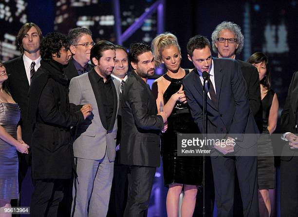 "Cast members from ""The Big Bang Theory"" accept the Favorite TV Comedy award onstage during the People's Choice Awards 2010 held at Nokia Theatre L.A...."