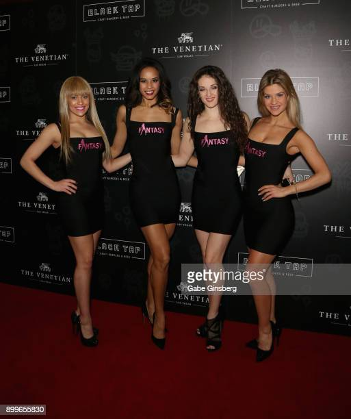 Cast members from the 'Fantasy' show attend the grand opening of Black Tap Craft Burgers Beer at The Venetian Las Vegas on December 29 2017 in Las...