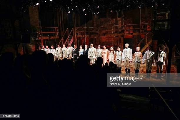 "Cast members from the musical ""Hamilton"" appear on stage during the 40th Anniversary of ""A Chorus Line"" held at The Public Theater on April 16, 2015..."