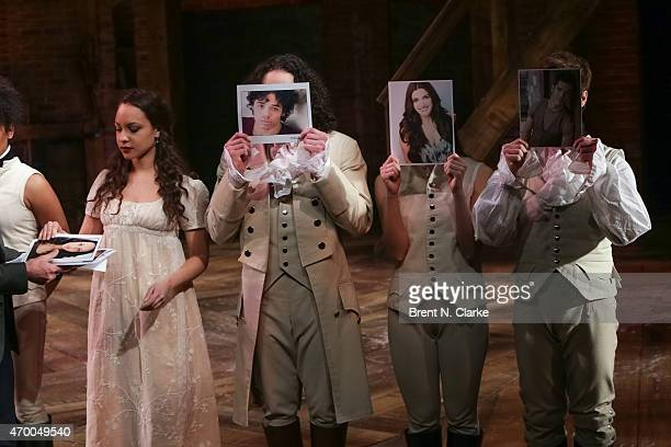 """Cast members from the musical """"Hamilton"""" appear on stage during the 40th Anniversary of """"A Chorus Line"""" held at The Public Theater on April 16, 2015..."""