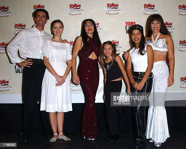 Cast members from the mussical play Selena Forever pose at the 3rd Annual Ritmo Latino Music Awards El Premio De La Gente October 18 2001 in Los...