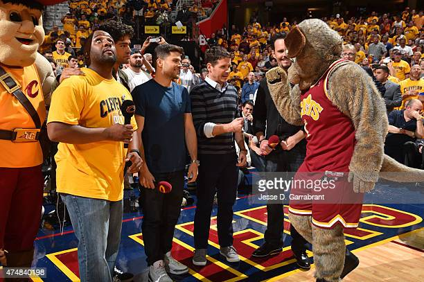 Cast Members from the new movie Entourage, speak with MoonDog Mascot of the Cleveland Cavaliers where they took on the Atlanta Hawks at the Quicken...