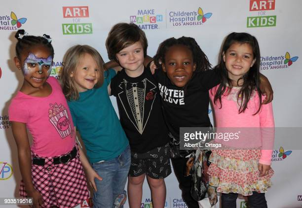 Cast members from 'The Secret Lives Of Kids' Dharma Bowie Bundlie Harlo Haas Zakai Karter and Madelyn Friedman attend Art For Kids And The Cast Of...