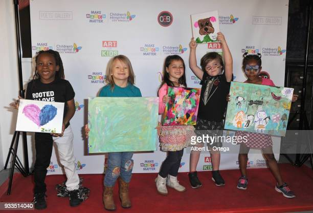 Cast members from 'The Secret Lives Of Kids' Zakai Karter Bowie Bundle Madelyn Friedman Harlo Haas and Dharma attend Art For Kids And The Cast Of USA...