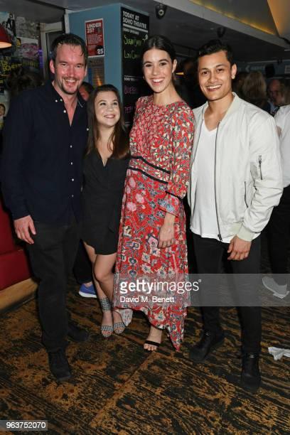 Cast members Gareth DavidLloyd Adrianna Bertola Gala Gordon and Matt Barkley attend the press night after party for Blueberry Toast at the Soho...
