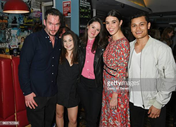 Cast members Gareth DavidLloyd Adrianna Bertola playwright Mary Laws Gala Gordon and Matt Barkley attend the press night after party for 'Blueberry...