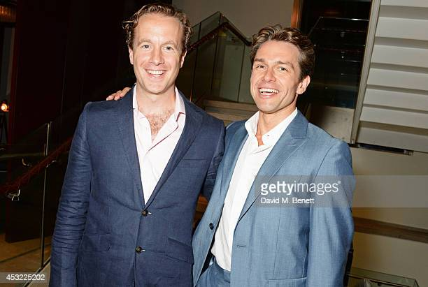"""Cast members Geoffrey Streatfeild and Julian Ovenden attend an after party following the press night performance of """"My Night With Reg"""", playing at..."""