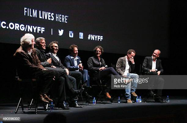 Cast members George Clooney John Turturro Tim Blake Nelson Joel Cohen and Ethan Cohen attend the QA for O Brother Where Art Thou 15th Anniversary...