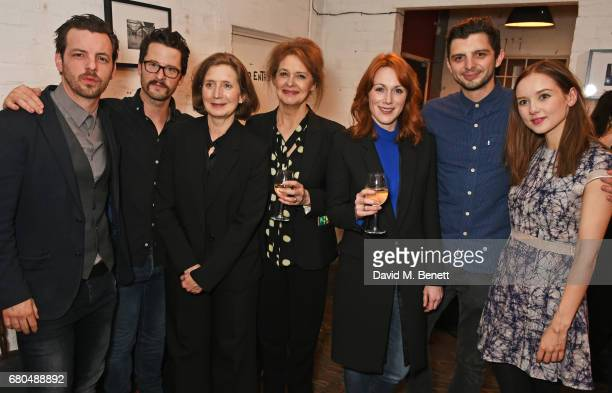 Cast members Gethin Anthony Robert Lonsdale Nancy Crane Kate Fahy Laura Rogers Michael Fox and Alexandra Dowling attend the press night after party...