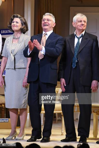 Cast members Glynis Barber Martin Shaw and Jack Shepherd bow at the curtain call during the press night performance of The Best Man at The Playhouse...