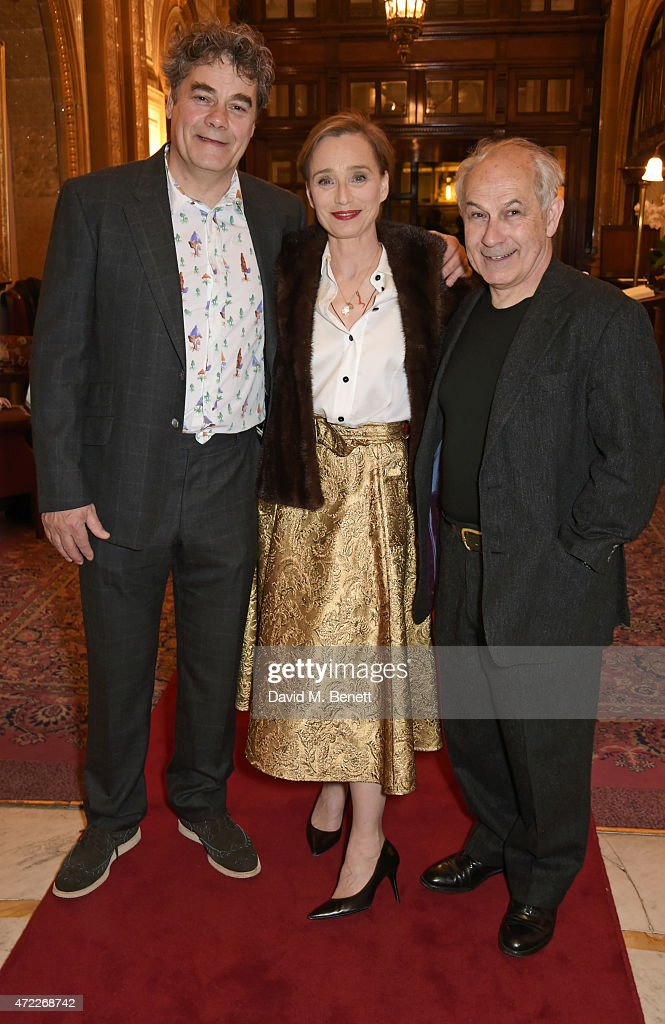 Cast members Gordon Kennedy, Dame Kristin Scott Thomas and Nicholas Woodeson attend an after party following the press night performance of 'The Audience' at The Royal Horseguards Hotel on May 5, 2015 in London, England.