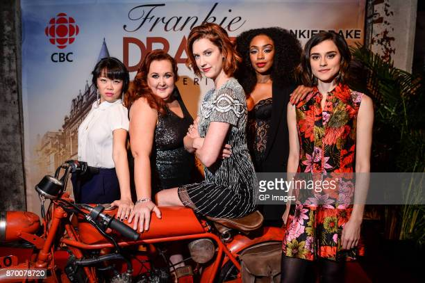 Cast members Grace Lynn Kung Sharron Matthews Lauren Lee Smith Chantel Riley and Rebecca Liddiard attend the CBC launch of Frankie Drake Mysteries at...