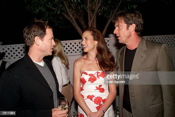 Cast members Greg Kinnear Andie MacDowell and Dennis Quaid chat at the afterparty for HBO's special screening of 'Dinner With Friends' at Club...
