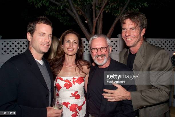 "Cast members Greg Kinnear, Andie MacDowell and Dennis Quaid with Director Norman Jewison at the after-party for HBO's special screening of ""Dinner..."