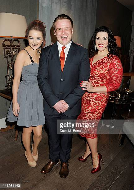 Cast members Hannah Spearritt Owain Arthur and Jodie Prenger attend an after party celebrating the press night performance of 'One Man Two Guvnors'...
