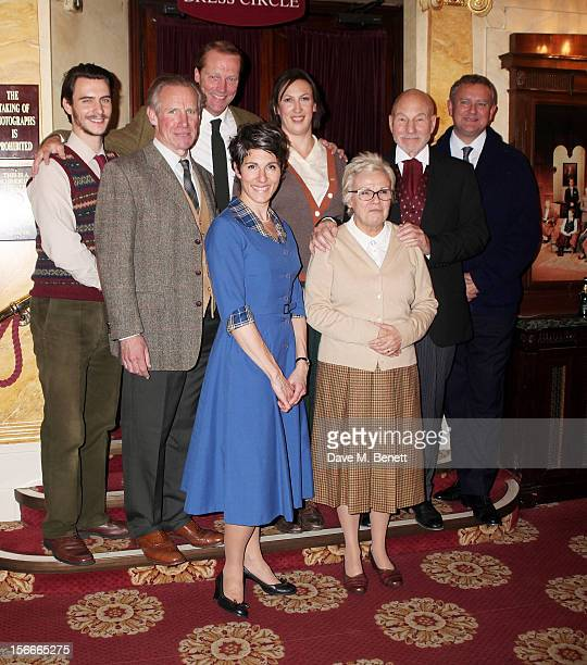 Cast members Harry Lloyd Nicholas Farrell Iain Glen Tamsin Greig Miranda Hart Julie Walters Sir Patrick Stewart and Hugh Bonneville pose following...