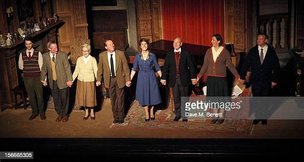 Cast members Harry Lloyd, Nicholas Farrell, Julie Walters, Iain Glen, Tamsin Greig, Sir Patrick Stewart, Miranda Hart and Hugh Bonneville bow at the...