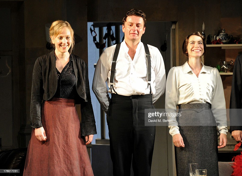 Cast members Hattie Morahan, Dominic Rowan and Caroline Martin bow at the curtain call during the press night performance of 'A Doll's House' at the Duke Of Yorks Theatre on August 14, 2013 in London, England.