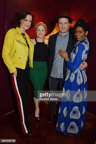 Cast members Haydn Gwynne Sarah Hadland Tom Mison and Jenny Jules attend the press night after party for 'The Way of the World' at The Hospital Club...