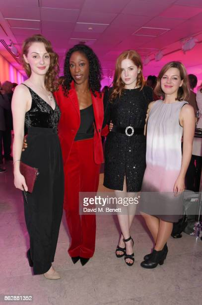 Cast members Helena Wilson Nikki AmukaBird and Ellie Bamber pose with playwright Elinor Cook at the press night after party for 'The Lady From The...