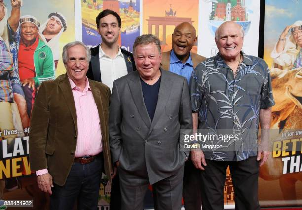 Cast members Henry Winkler Jeff Dye William Shatner George Foreman and Terry Bradshaw attend the premiere of NBC's 'Better Late Than Never' at...