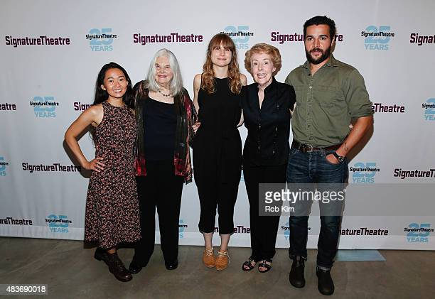 Cast members Hong Chau Lois Smith Annie Baker Georgia Engel and Christopher Abbott attend the opening night party for 'John' at Signature Theatre...
