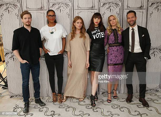 Cast members Hunter Parrish Joy Bryant Genevieve Angelson Erin Darke Ana Camp and Chris Diamantopoulos of 'Good Girls Revolt' visit the Build Series...