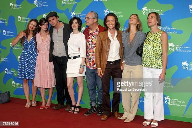 Cast members including actress Pilar Lopez de Ayala director Jose Luis Guerin and actor Xavier Lafitte attend the En La Ciudad De Sylvia photocall in...
