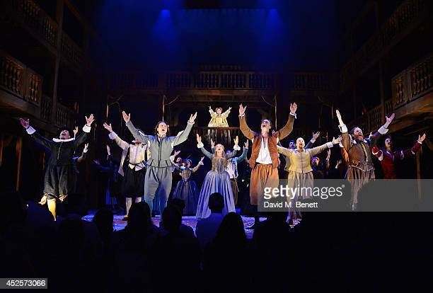 Cast members including Alistair Petrie David Oakes Lucy BriggsOwen Tom Bateman Paul Chahidi and Anna Carteret bow at the curtain call during the...