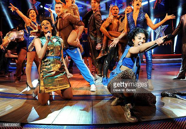 Cast members including Hannah John-Kamen and Siobhan Athwal bow at the curtain call during the Gala Press Night performance of 'Viva Forever' at the...