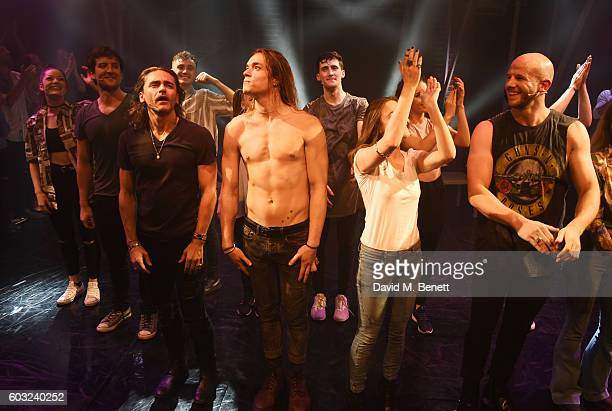 Cast members including Jack Donnelly Ryan Molloy Greg Oliver Cassie Compton and Ryan Gibb bow at the curtain call during the press night performance...