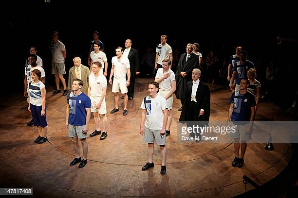 Cast members including James McArdle Jack Lowden Nickolas Grace Antonia Bernath and Simon Williams bow at the curtain call during the Press Night...