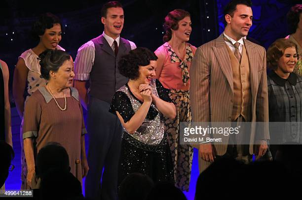 Cast members including Marilyn Cutts Sheridan Smith and Darius Campbell bow at the curtain call during the press night after party for 'Funny Girl'...