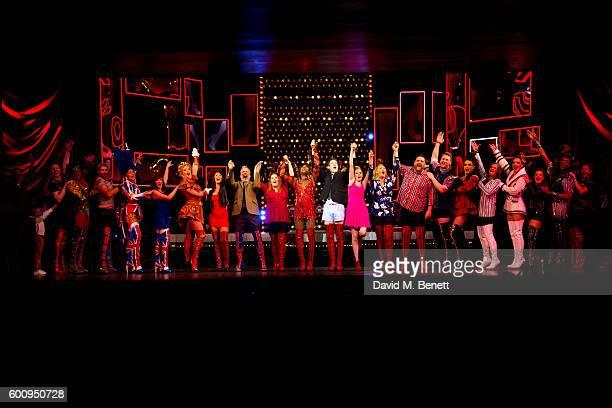 Cast members including Matt Henry, Elena Skye, Cordelia Farnworth, David Hunter, Alan Mehdizadeh and Michael Hobbs bow at the curtain call during the...