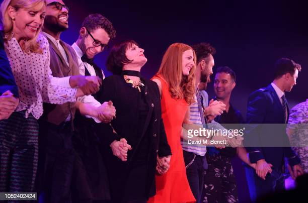 Cast members including Mel Giedroyc, Patti LuPone, Rosalie Craig and Richard Fleeshman bow at the curtain call during the press night performance of...