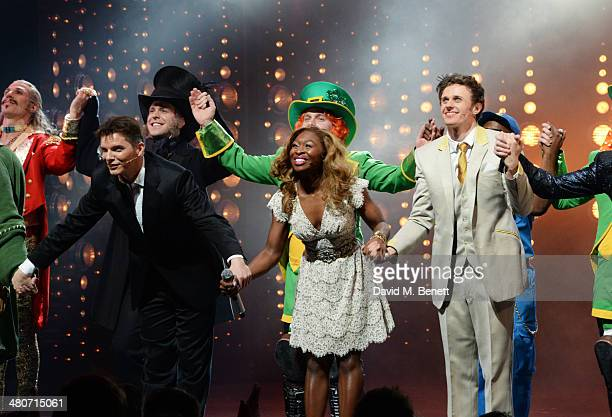 Cast members including Nigel Harman Cynthia Erivo and Alan Morrissey bow at the curtain call during the press night performance of I Can't Sing The X...