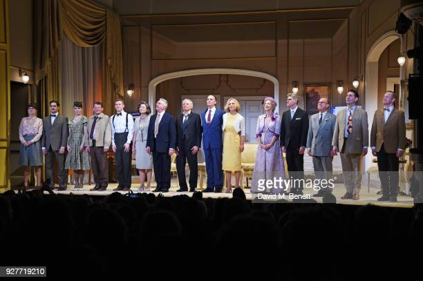 Cast members including Philip Cumbus Glynis Barber Martin Shaw Jack Shepherd Jeff Fahey Honeysuckle Weeks and Maureen Lipman bow at the curtain call...