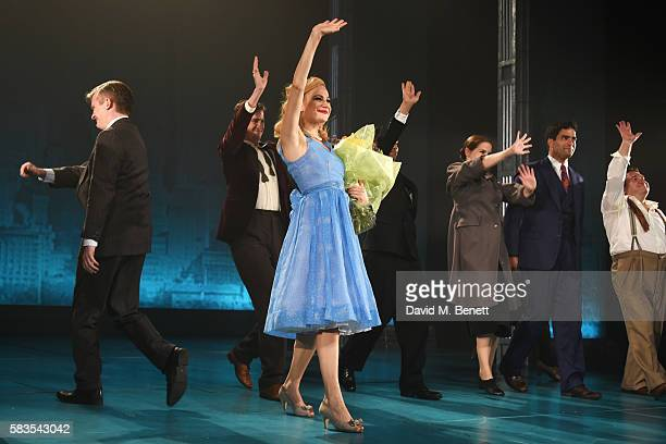 Cast members including Pixie Lott and Matt Barber bow at the curtain call during the press night performance of 'Breakfast at Tiffany's' at the...