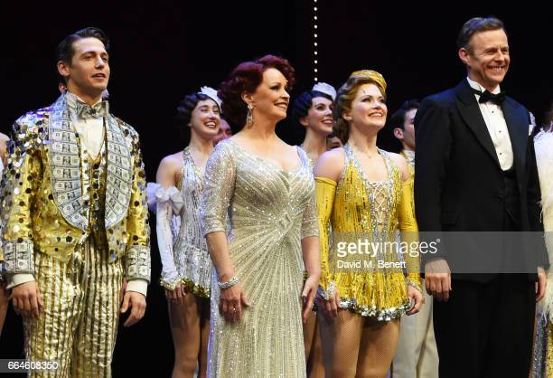 Cast members including Stuart Neal Sheena Easton Clare Halse and Tom Lister bow at the curtain call during the Opening Night Royal Gala performance...