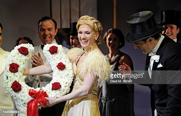 Cast members including Summer Strallen and Tom Chambers perform at the curtain call during the press night performance of 'Top Hat' at the Aldwych...