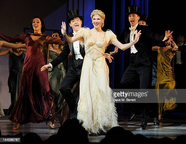 Cast members including Summer Strallen and Tom Chambers perform during the press night performance of 'Top Hat' at the Aldwych Theatre on May 9 2012...