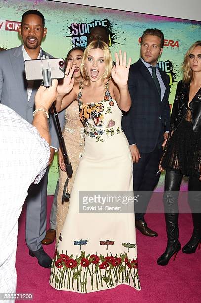 Cast members including Will Smith Karen Fukuhara Adewale AkinnuoyeAgbaje Margot Robbie Jai Courtney and Cara Delevingne attend the European Premiere...