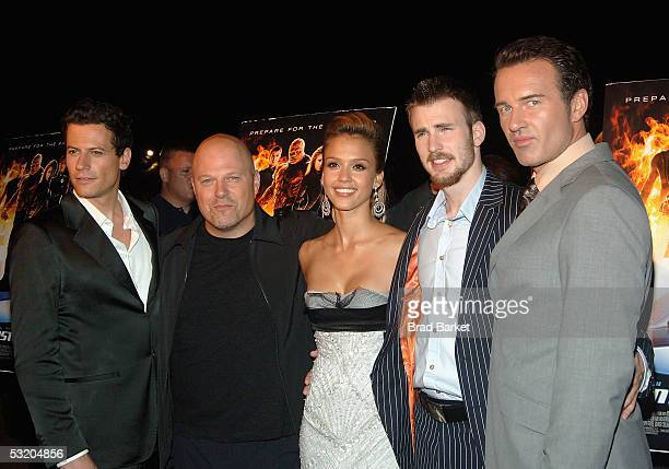 "Cast members Ioan Gruffudd, Michael Chiklis, Jessica Alba, Chris Evans and Julian McMahon attend the premiere of ""Fantastic Four"" on Liberty Island..."