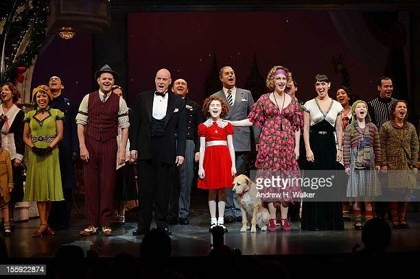 Cast members J Elaine Marcos Clarke Thorell Anthony Warlow Lilla Crawford Katie Finneran and Brynn O'Malley take their curtain call at the opening...